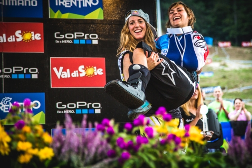 The best moment of the year right here. Rachel Atherton (1st) carried Emmeline Ragot (5th) out to the overall awards, as Ragot is still recovering from injuries sustained at MSA. After the trophies were handed out, Ragot sat on the podium with Atherton and Seagrave, and annouced her retirement from the sport. Her years of racing were exceptional, and she helped elevate the Women's race to the level at which it now stands. Her presence on track will be missed, but we will likely she here in the pits as a physio for one of the teams next year!