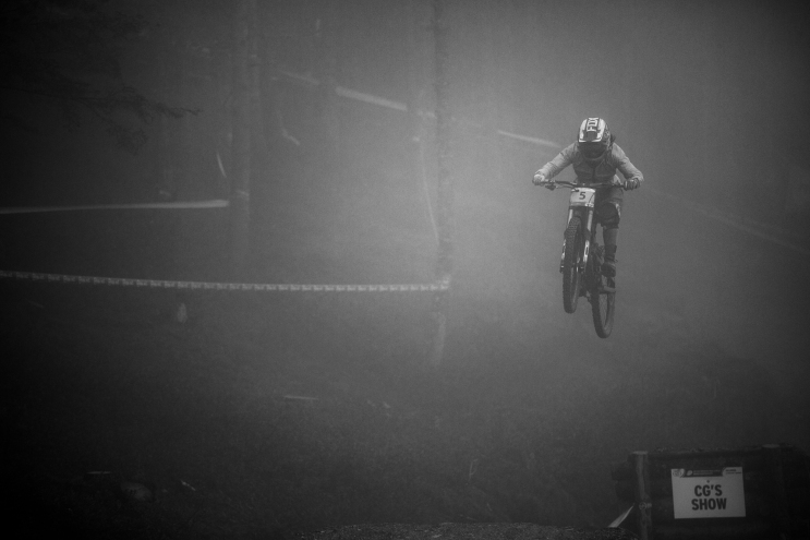 The fog was heavy and I could barely see the riders, so I only imagine how Morgane Charre felt flying blind across the CG Show Gap. The French powerhouse had a great season, and World Champs only back that up.