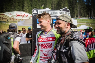 Another great moment: Greg and Sven Martin share a happy (trust me, they are happy) moment amid the chaos and exhaustion. Two legends of the sport right here.