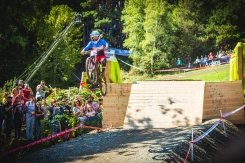 """Going bigger than most of the guys, Casey Brown sent """"The Glory Jump"""" deeeep, much to the excitement of the crowd. Casey is rad, and I think this moment deserves some more coverage (I ran it for offical coverage content, as did every other media outlet) - too cool!"""