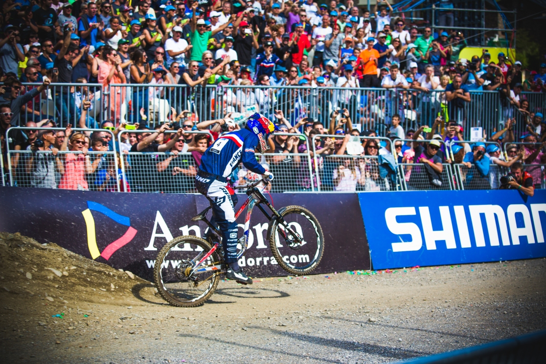 Power to the line! Just a few turns of the cranks later, Bruni became the World Champion. The people's champion on the day, and a real champion to the core; Loic is a gentleman and a scholar, and now a World Champion!