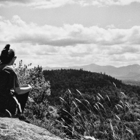 This is a secret spot in Lake Placid, NY. It is one of the best views of the 46'ers in the Adirondacks. Here, my dear friend Jess, who I've known since our first year of college, takes some time to soak in the sights. || Summer 2013 | Lake Placid, NY ||