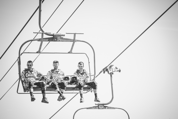 The CRC team takes a gander at the track on their way up to the top. Sam; Joe; Mike.
