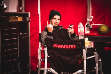 The SRAM lounge is a little slice of heaven for athletes and industry folk alike. @andrewcrimmins enjoying all the offerings.