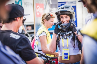 World Champs is a particularly cool event, because riders' family and friends make the trip to cheer and celebrate. Here, Ratboy's sister dons his kit in consideration for 2016.