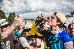 Pro Tip: Drinking from a flask is a great form of celebration, but taking it from a stranger is a dicey move. Loic rolls 'em...