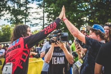 Ratboy and TBrooks share a well-executed high-five for Joe Bowman/Steelcity Media.