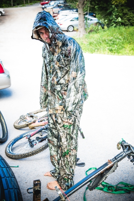 The wonders of Walmart, as modeled by Matt. Unfortunately, the camo isn't very effective in a parking lot.