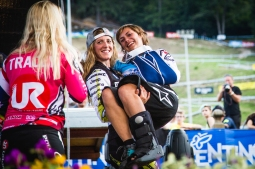 This is what being career rivals and close friends looks like: @rachybox carries @emmelineragot off the podium in one of the most touching moments the sport has seen.
