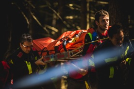 """Down for the count, Finn Iles seemed more irritated than injured as he was carried past us. """"I crash, and then my neck sort of hurt, and now I'm on a backboard..."""" No chances taken around here."""
