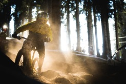 The vail of uncertainty in racing is ever-present, but it was literally present today as riders were blinded by dust coulds in the dark woods. Somehow, Oscar Harnstrom mananged this curtain call and kept on charging.