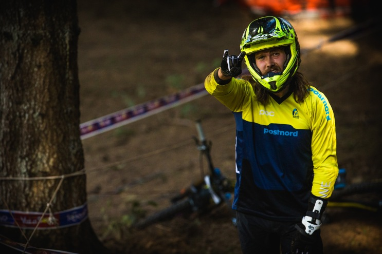 One tough dude, Oscar Harnstrom hit the deck, hard, about a minute before this photo was taken. Horns up and ready to send it once again though!