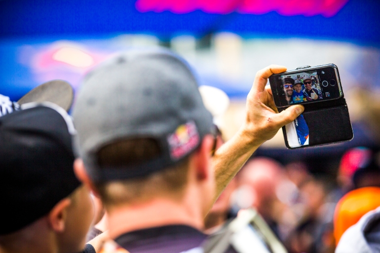 It was selfie-central in the finish corral. Aaron Gwin always has time for the fans.