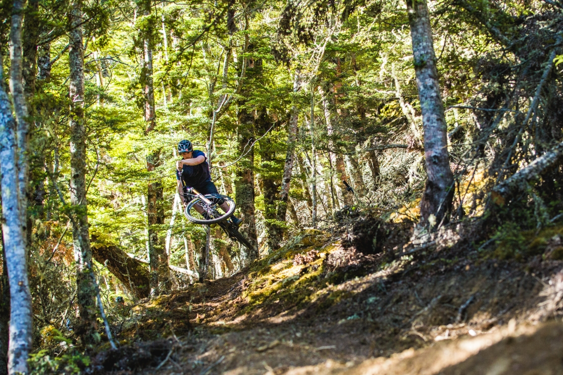 The new track on Fernhill, Salmon Run, is full-on right from the start. Jake Hood airs a blind rise into an off-camber patch of brand new trail.